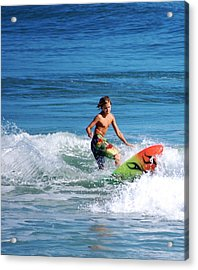 Playing In The Surf Acrylic Print by David Lane