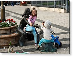 Playing On Sculpture Acrylic Print by Sally Weigand