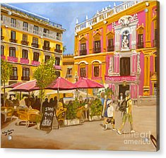 Acrylic Print featuring the painting Plaza Malaga by Judy Morris
