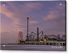 Pleasure Pier Amusement Park Galveston Texas Acrylic Print by Keith Kapple