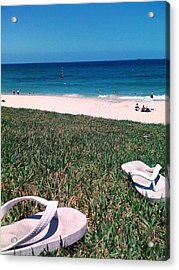 Acrylic Print featuring the photograph Pluggers At Beach by Therese Alcorn