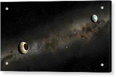 Pluto And Charon Artwork Acrylic Print by Mark Garlick
