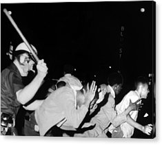 Police Club Demonstrators In Harlem Acrylic Print by Everett