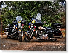 Police Motorcycles Acrylic Print by Paul Ward