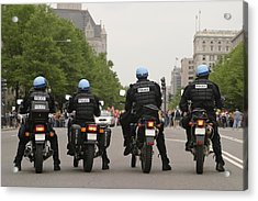 Police Officers Stand Sentinel Acrylic Print by Jim Webb