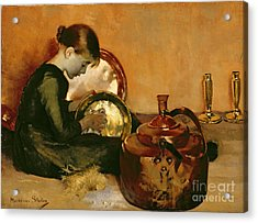 Polishing Pans  Acrylic Print by Marianne Stokes