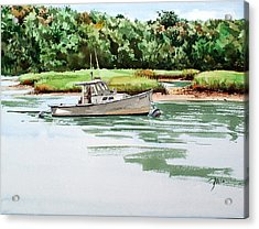 Polly C On The Mill River Acrylic Print by Peter Sit