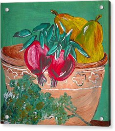 Pomegranates Pears And Parsley Acrylic Print by Julie Butterworth