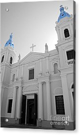 Acrylic Print featuring the photograph Ponce Puerto Rico Cathedral Of Our Lady Of Guadalupe Color Splash Black And White by Shawn O'Brien