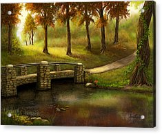 Pond Crossing Acrylic Print by Sena Wilson
