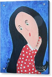 Pondering Black Haired Girl Acrylic Print by Jeannie Atwater Jordan Allen
