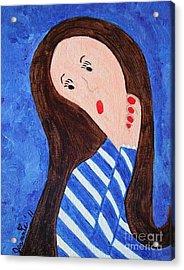 Pondering Brunette Acrylic Print by Jeannie Atwater Jordan Allen