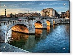 Pont-neuf And Samaritaine, Paris, France Acrylic Print by Romain Villa Photographe