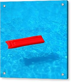 Pool - Blue Water And Red Airbed Acrylic Print by Matthias Hauser