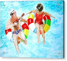 Acrylic Print featuring the drawing Pool by Beth Saffer