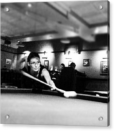 #pool #girl #snooker #bar Acrylic Print