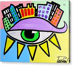 Pop City Eye Acrylic Print by John Pescoran