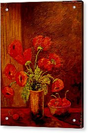 Acrylic Print featuring the painting Poppies And Cherries by Marie Hamby