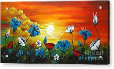 Poppies And Iris Acrylic Print by Uma Devi