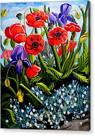 Poppies And Irises Acrylic Print by Renate Nadi Wesley