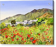 Poppies At Las Hortichuelas Acrylic Print by Margaret Merry