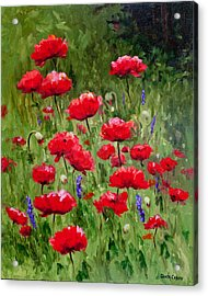 Poppies In A Meadow II Acrylic Print