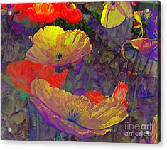 Acrylic Print featuring the mixed media Poppies by Irina Hays