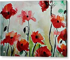 Poppies Meadow - Abstract Acrylic Print