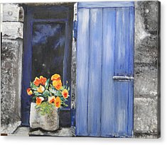 Acrylic Print featuring the painting Poppies On The Windowsill by Cindy Plutnicki