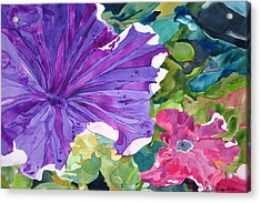 Acrylic Print featuring the painting Popping Petunias by Debi Singer