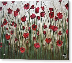 Poppy Field Acrylic Print by Holly Donohoe