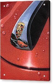 Acrylic Print featuring the painting Porsche 356 Raindrops by Rod Seel