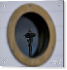 Port Hole Reflection Of The Space Needle Acrylic Print by Camille Lyver