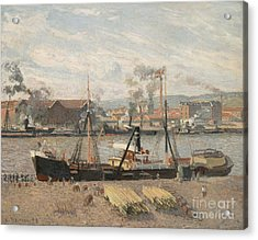 Port Of Rouen Acrylic Print by Camille Pissarro