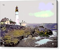 Acrylic Print featuring the mixed media Portland Head Light by Charles Shoup