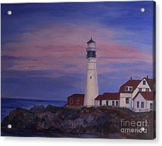 Acrylic Print featuring the painting Portland Head Lighthouse At Dawn by Julie Brugh Riffey