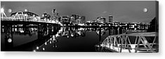 Portland In Black And White Acrylic Print by Brian Bonham