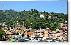 Portofino Hillside Acrylic Print by Corinne Rhode