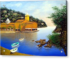 Portofino Pleasures Acrylic Print by Larry Cirigliano