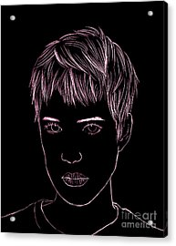 Portrait Drawing Acrylic Print by Bou Lemon
