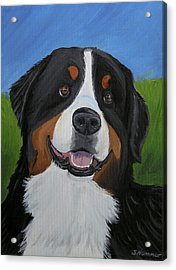 Acrylic Print featuring the painting Portrait Of A Bernese Mountain Dog by Sharon Nummer