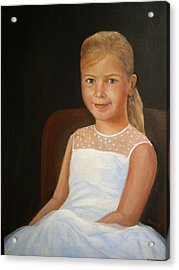 Acrylic Print featuring the painting Portrait Of A Girl by Katalin Luczay