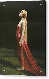 Portrait Of A Nude Woman Draped Acrylic Print by Franklin Price Knott