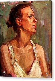 Portrait Of A Stern And Distanced Hardworking Woman In Light Summer Dress With Deep Shadows Dramatic Acrylic Print