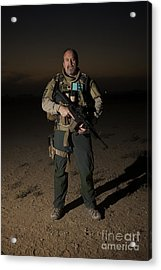 Portrait Of A U.s. Contractor Acrylic Print by Terry Moore