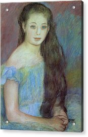 Portrait Of A Young Girl With Blue Eyes Acrylic Print by Pierre Auguste Renoir