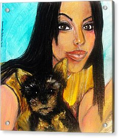 Acrylic Print featuring the pastel Portrait Of A Young Woman And Her Puppy 2 by Amanda Dinan