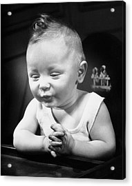Portrait Of Baby Indoor Acrylic Print by George Marks