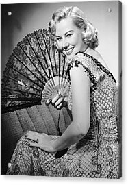 Portrait Of Blonde Woman Holding Fan Acrylic Print by George Marks