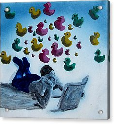 Portrait Of Boy Reading Large Book While Laying On Floor And Fantasizing About Ducks Floating Kids Acrylic Print by M Zimmerman MendyZ